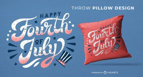 Diseño de almohada de tiro con cita del cuatro de julio
