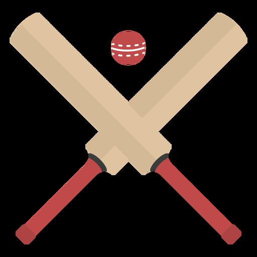Cricket bats crossed with ball semi flat