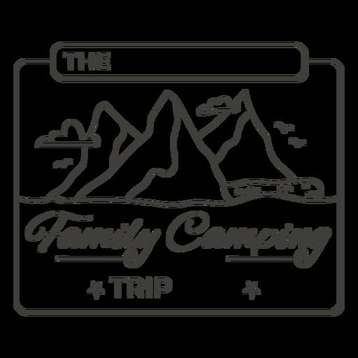 Family camping trip label stroke