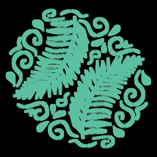 Fern leaves organic pattern flat