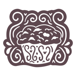 Ornamented muffin doodle cut out