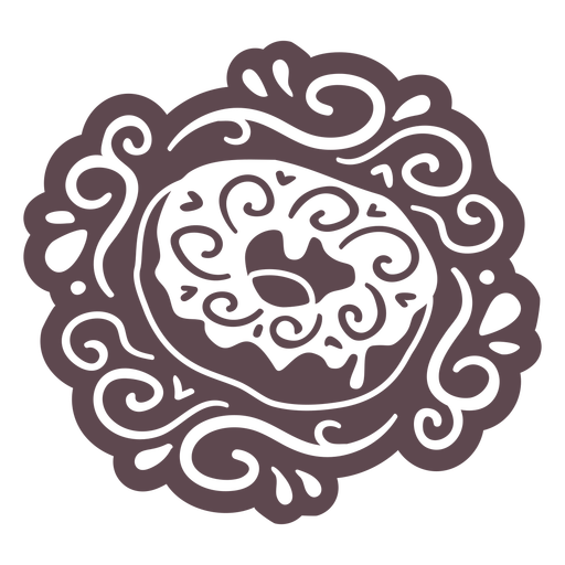 Ornamented donut doodle cut out