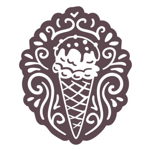 Ornamented ice cream doodle cut out