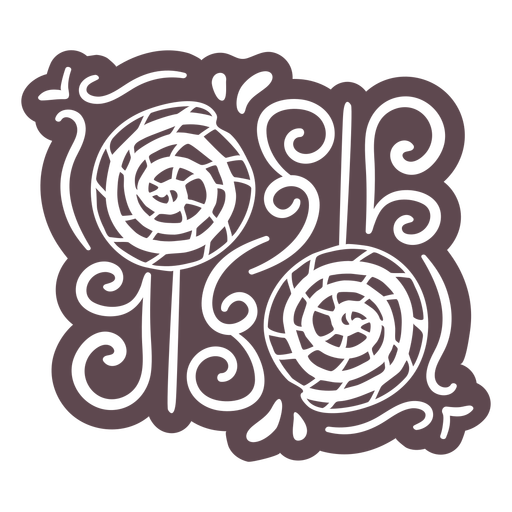 Ornamented cinnamon rolls doodle cut out