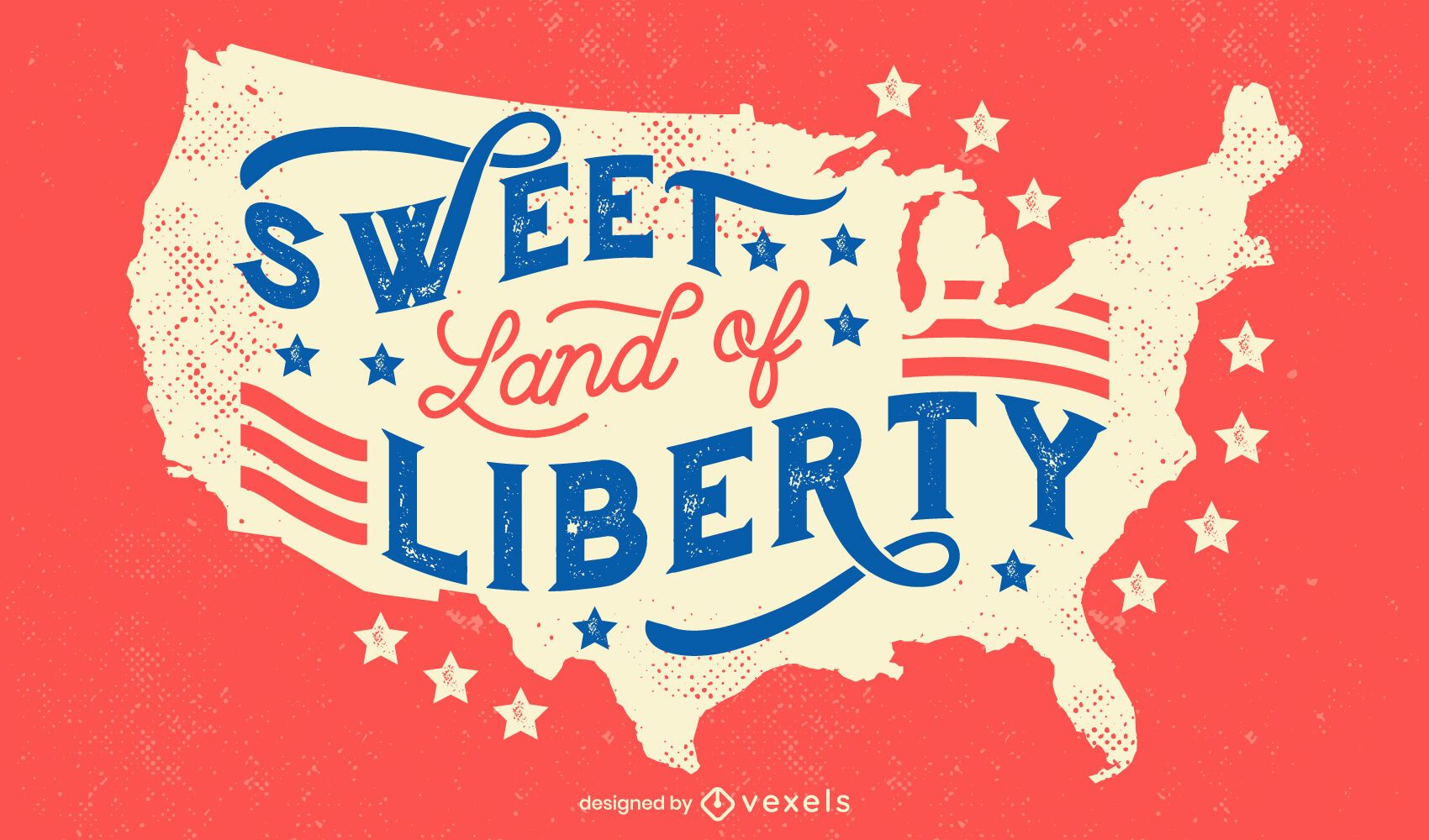 Land of liberty 4th of july lettering