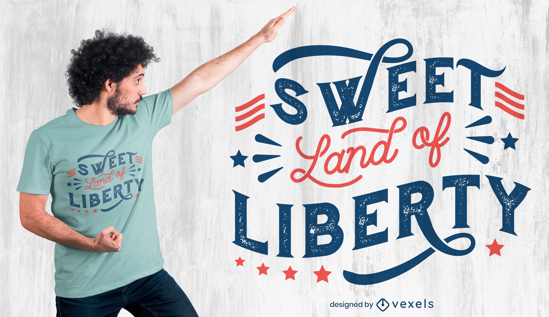 Diseño de camiseta con cita de libertad del 4 de julio