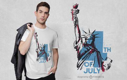 T-shirt vintage com design da estátua da liberdade