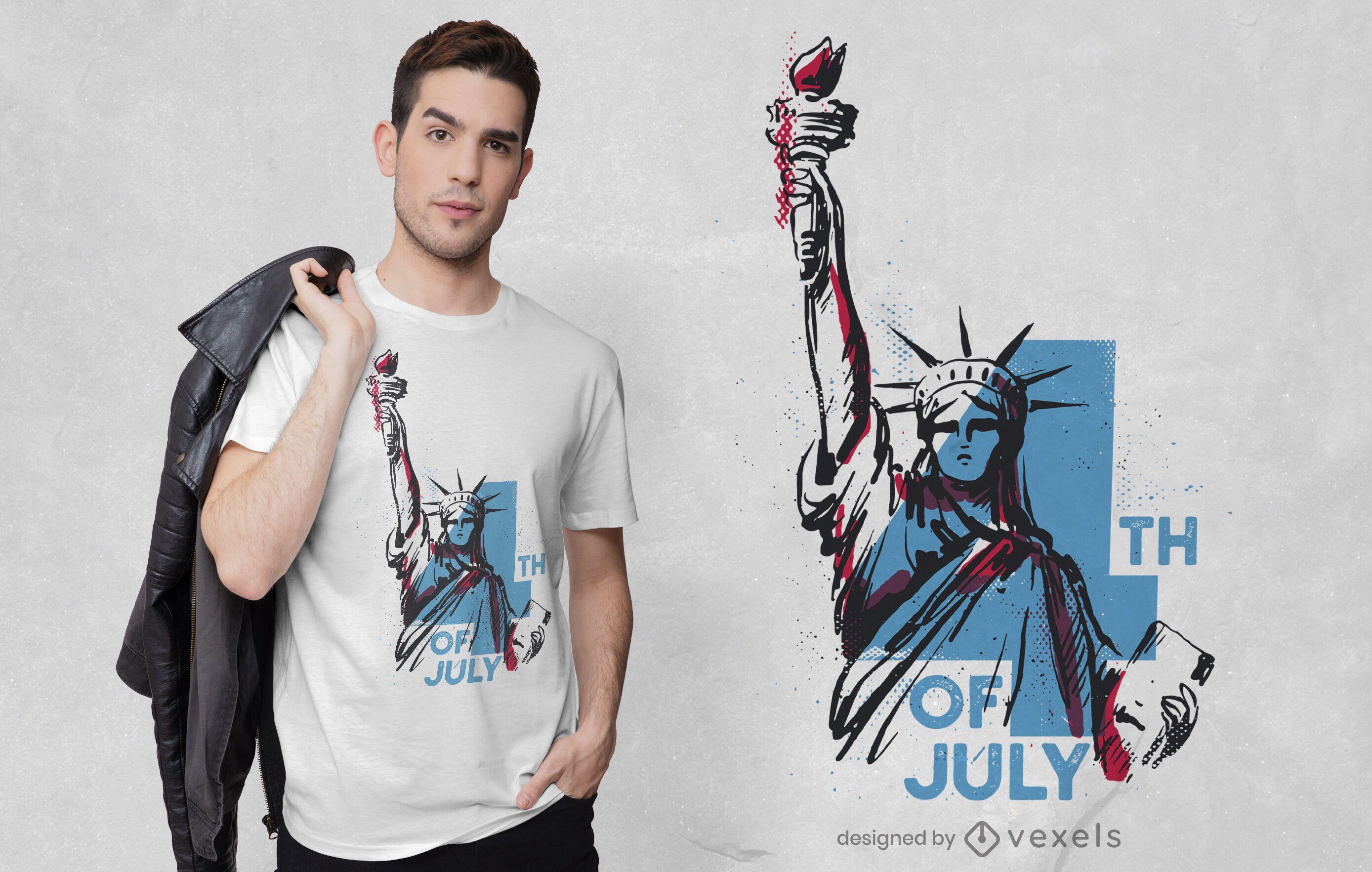 Diseño de camiseta vintage de estatua de la libertad