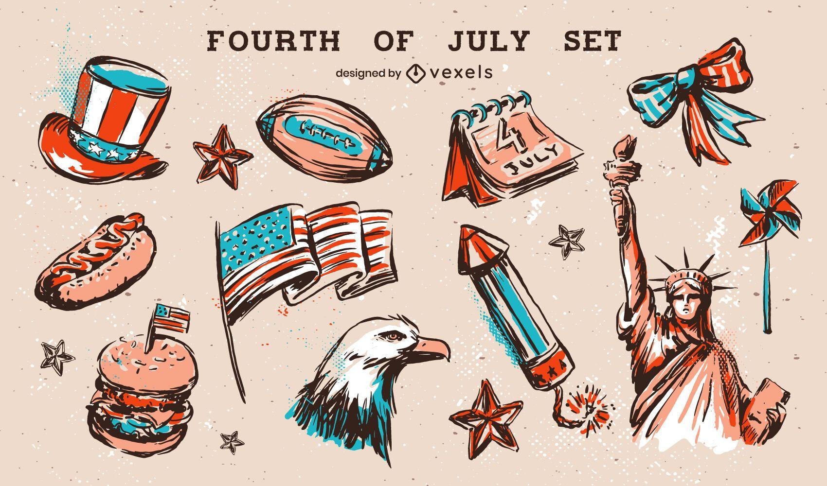 Fourth of july elements set