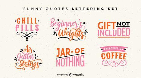 Conjunto de letras de citações engraçadas
