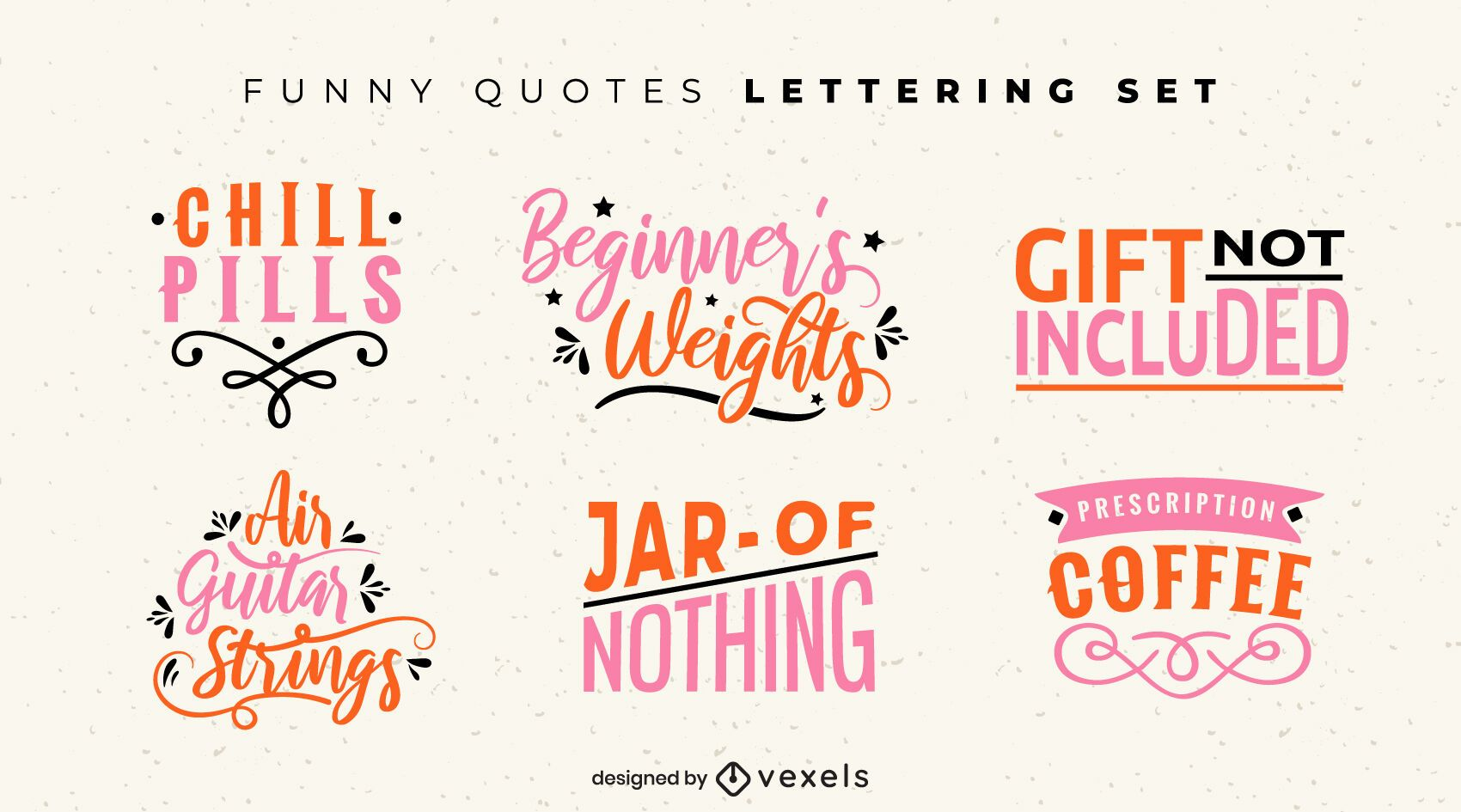 Funny quotes lettering set