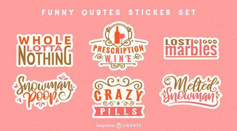 Conjunto de adesivos de citações engraçadas