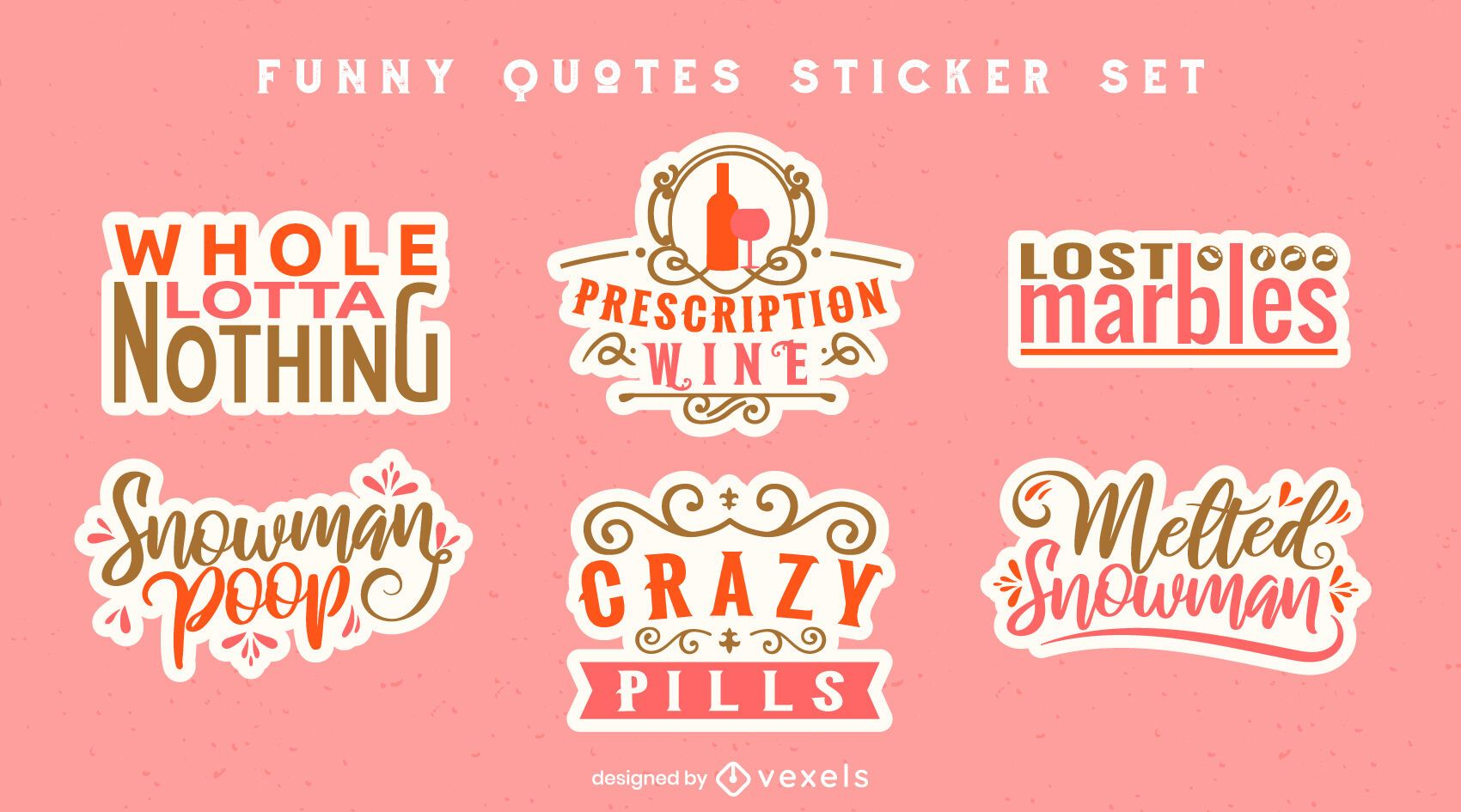 Funny quotes sticker set