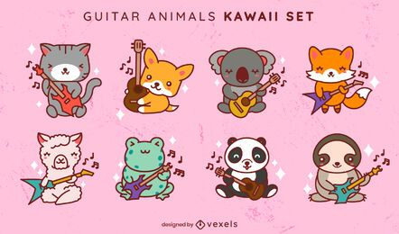 Kawaii guitar animals set