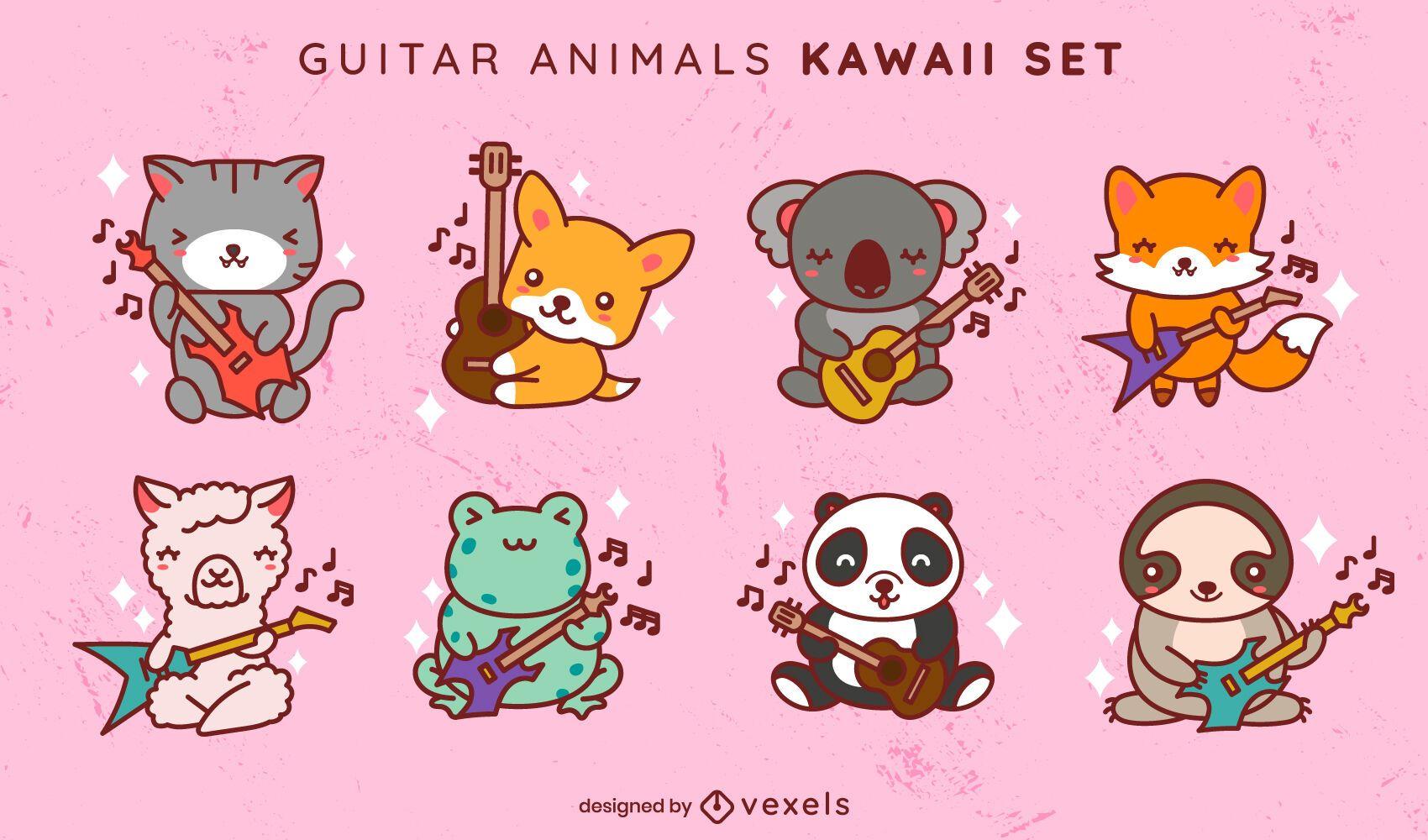 Kawaii guitar animals set