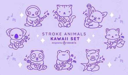 Conjunto de golpes de animais de guitarra Kawaii