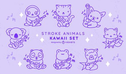 Conjunto de trazos de animales de guitarra kawaii