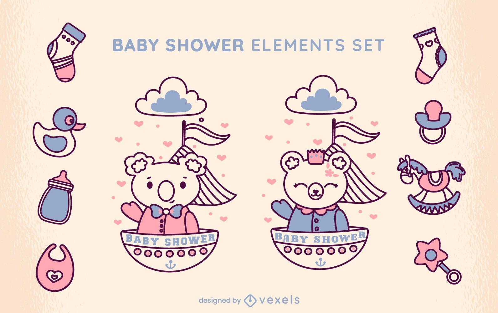 Cute baby shower set