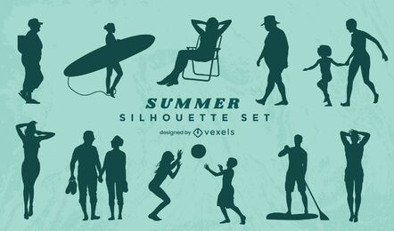 Conjunto de silhuetas de pessoas no verão