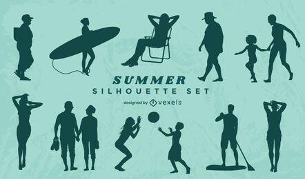 Sommer Menschen Silhouette gesetzt