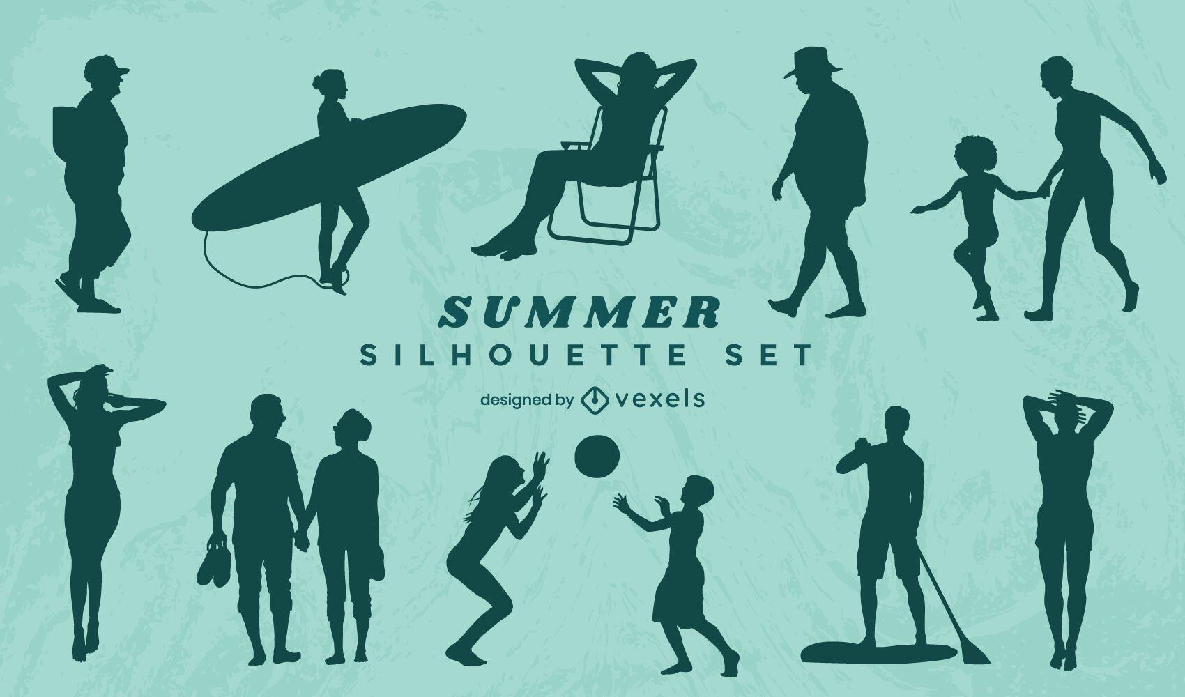 Conjunto de silueta de gente de verano