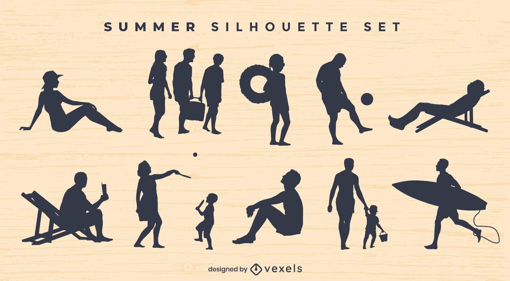 Conjunto de silhuetas de pessoas na praia