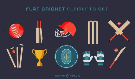 Conjunto de elementos de cricket planos
