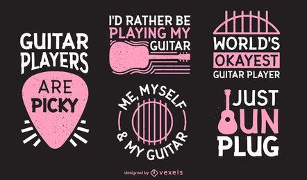 Conjunto de letras de guitarrista engraçado