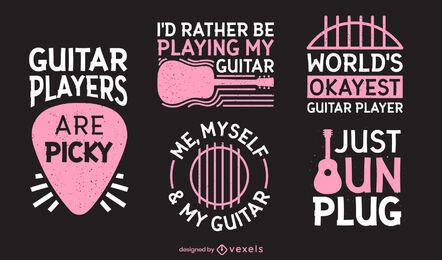 Funny guitar player lettering set