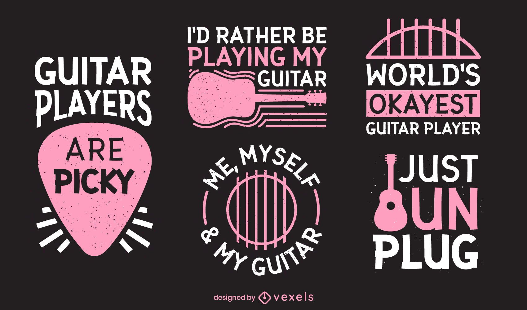 Funny guitar player lettering set