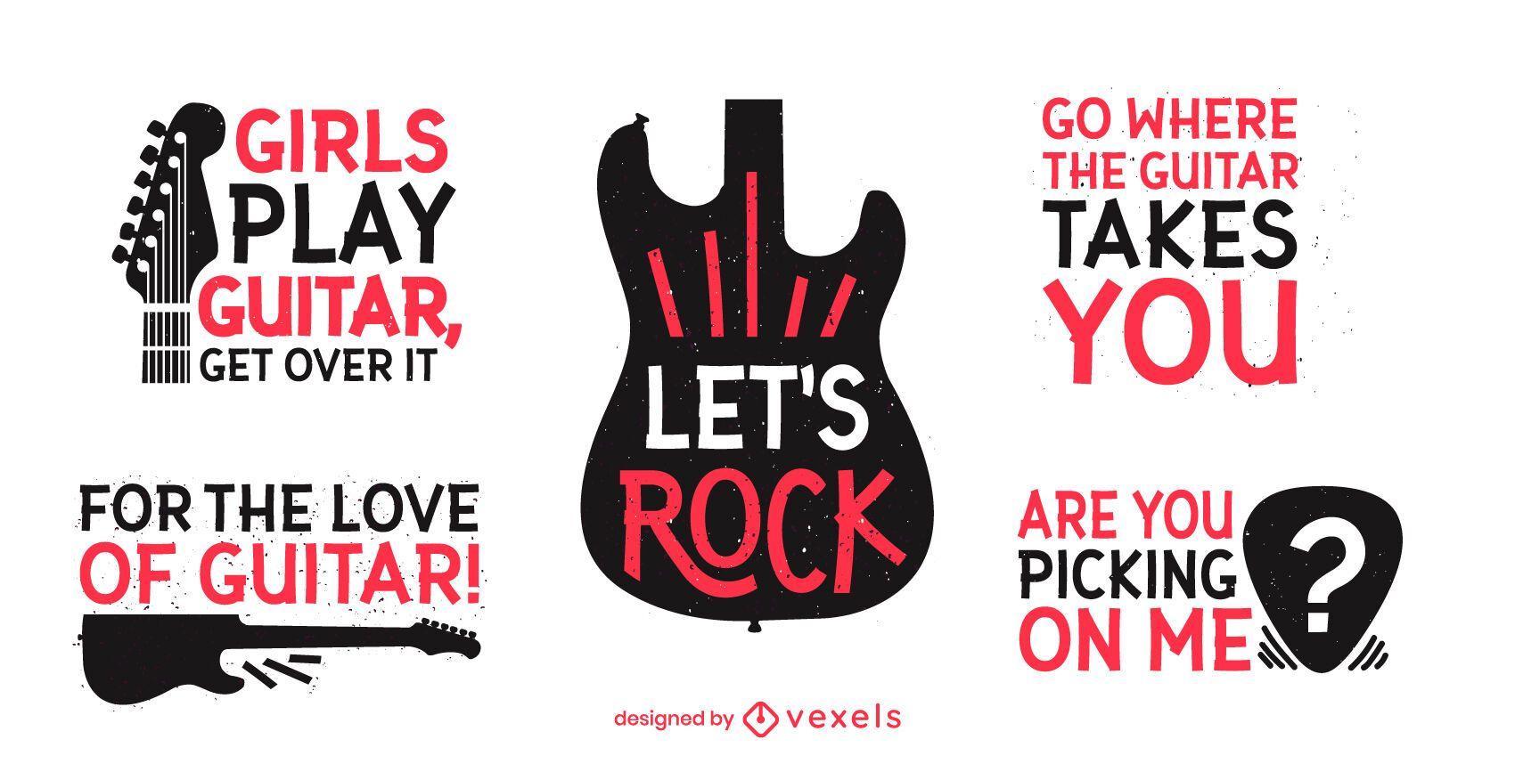 Divertido conjunto de letras de guitarra