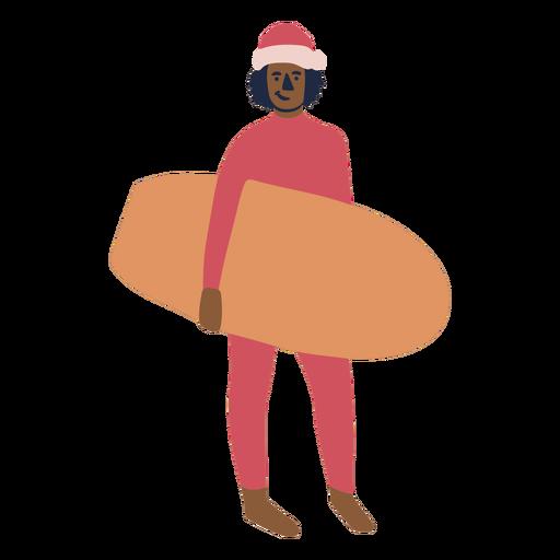 Christmas surfer flat character