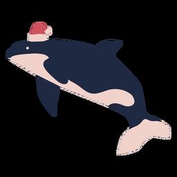 Christmas whale flat
