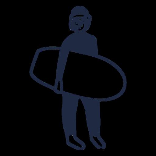 Christmas surfer filled stroke character