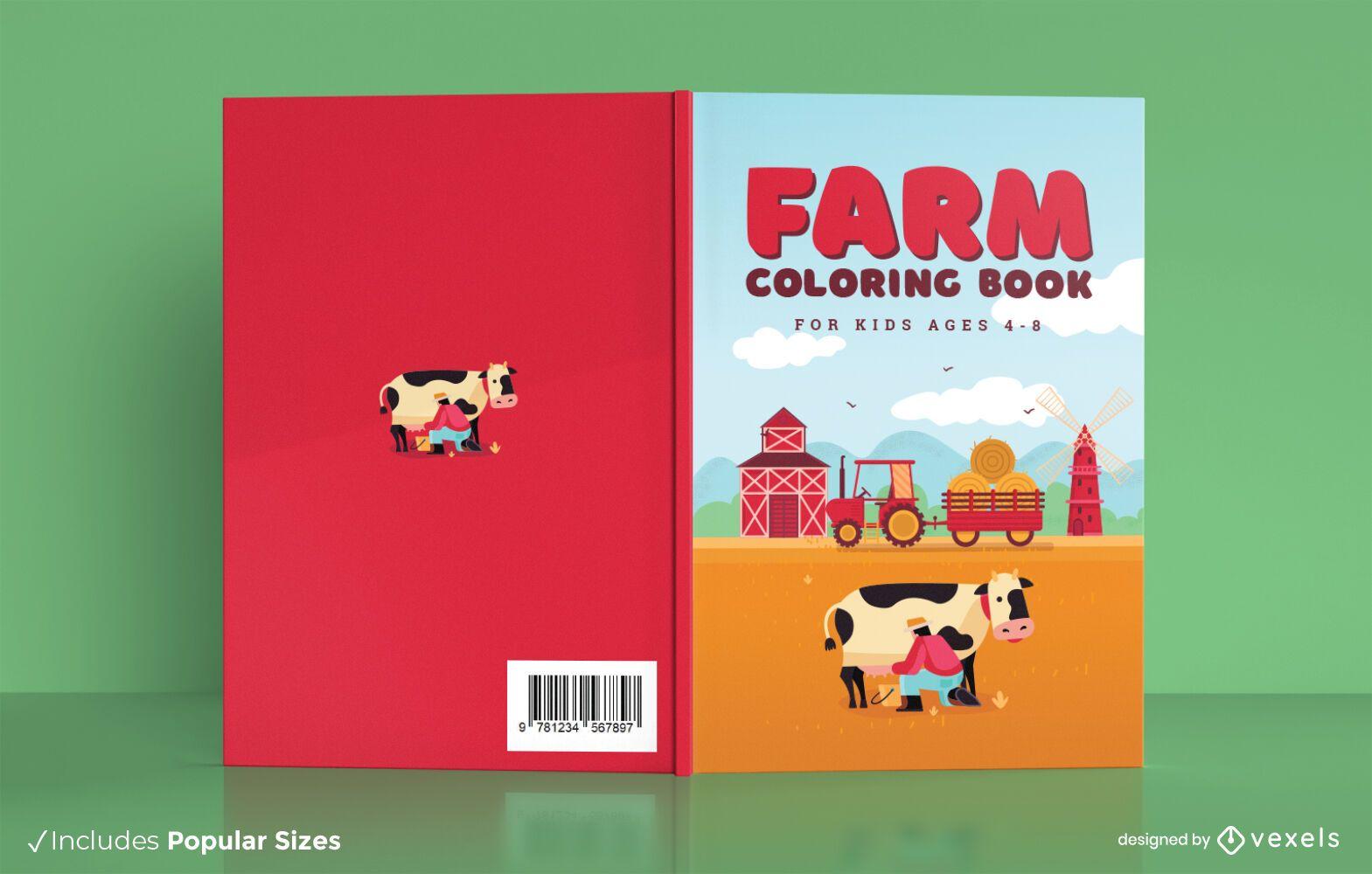 Dise?o de portada de libro para colorear de granja