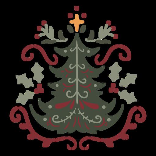 Árbol de navidad diseño ornamental semi plano.