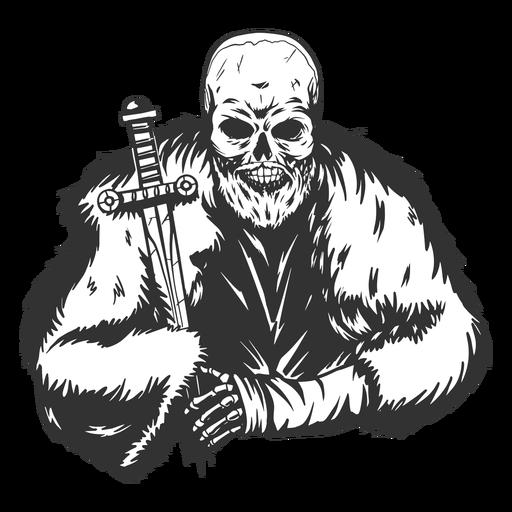 Cool esqueleto con capa y espada grunge