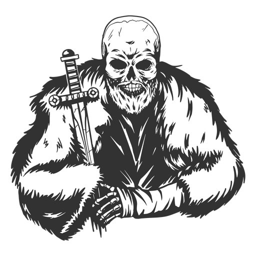 Cool Skeleton with cape and sword grunge