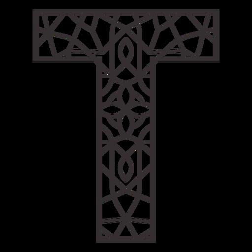 Alphabet letter t stroke mandala