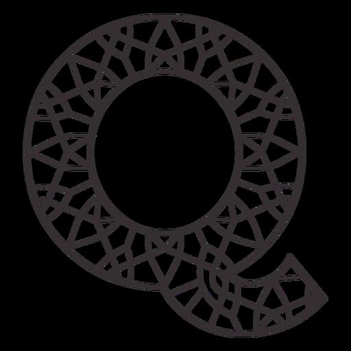 Alphabet letter q stroke mandala