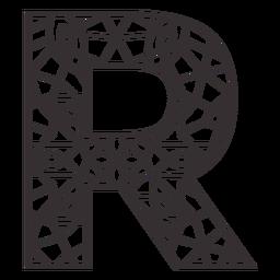 Alphabet letter r stroke mandala