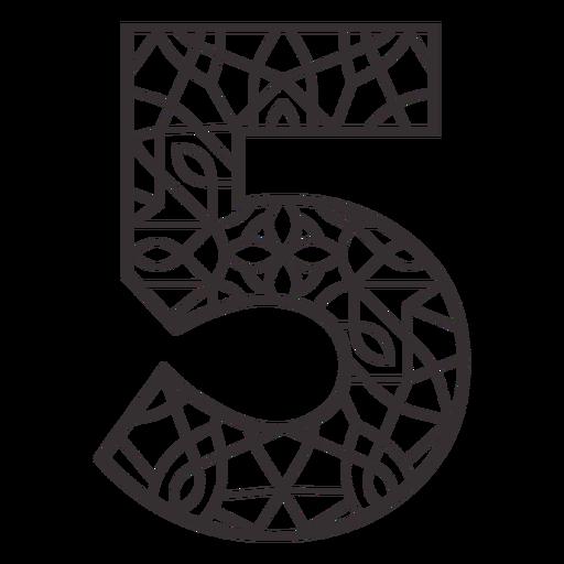 Number 5 stroke mandala