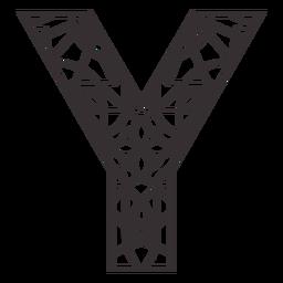Alphabet letter y stroke mandala