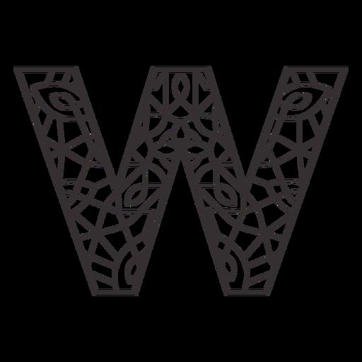 Alphabet letter w stroke mandala