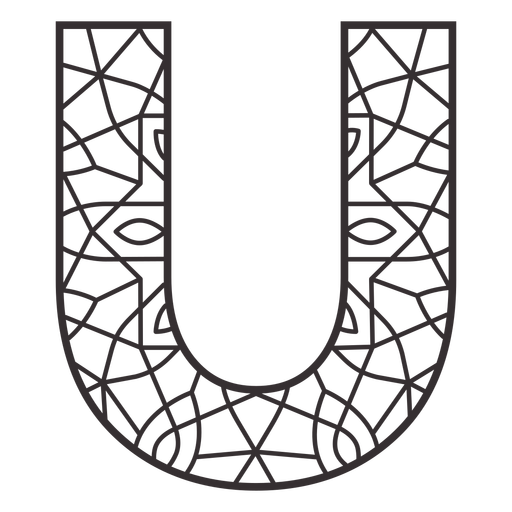 Alphabet letter u stroke mandala