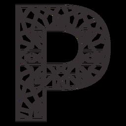 Alphabet letter p stroke mandala
