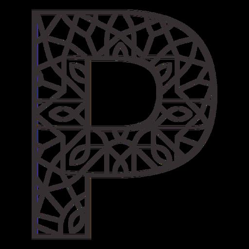 Alphabet letter p stroke mandala Transparent PNG