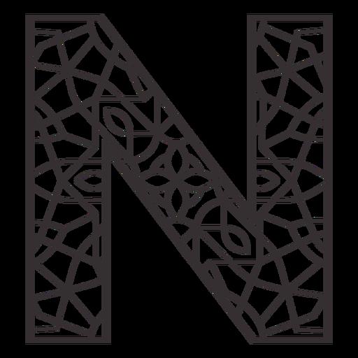 Alphabet letter n stroke mandala