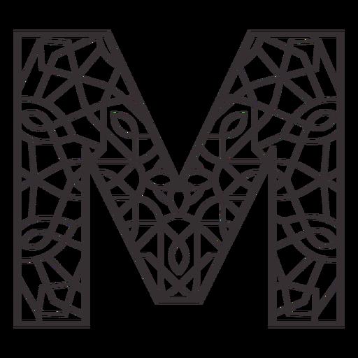 Alphabet letter m stroke mandala