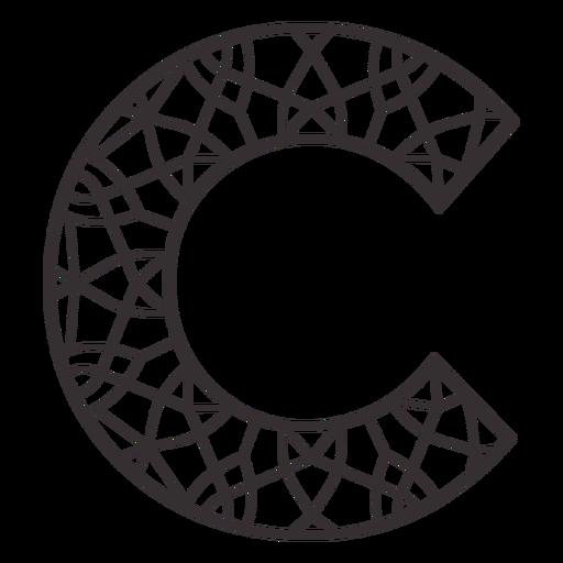 Alphabet letter c stroke mandala